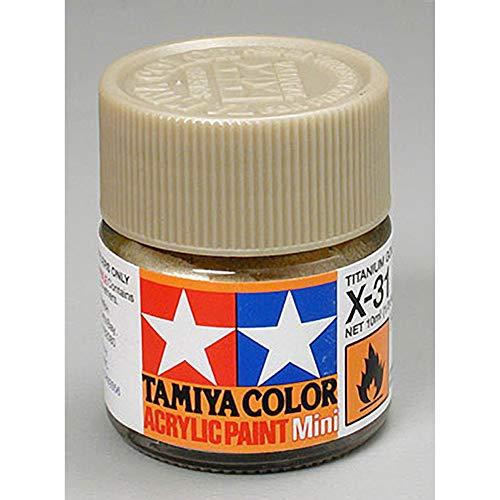 Tamiya 81531 Mini-Acrylfarbe, Gold, Titan, 10 ml, X-31
