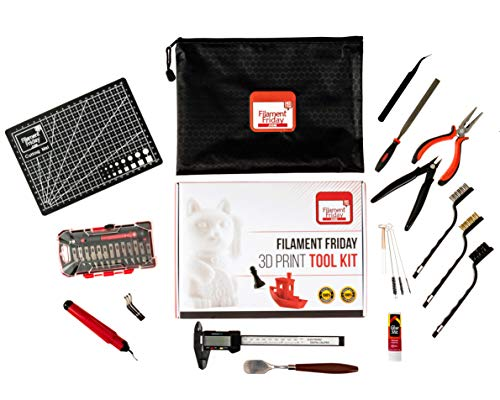 Filament Friday 3D Print Tool Kit - 32 Essential 3D Print Accessories for Finishing, Cleaning, and Printing 3D Prints - Includes Convenient Zipper Pouch and Removal Tool - 3D Printer Tool Set