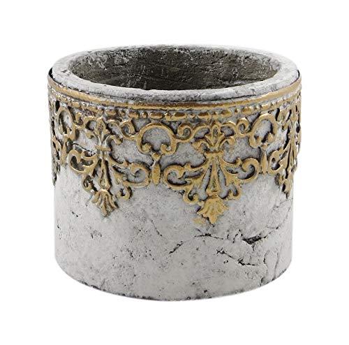 PARTS4LIVING Zement Übertopf Blumentopf mit Metall Ornamenten Blumentopf Pflanzgefäß Vase im antiken Look grau Gold 12x10 cm