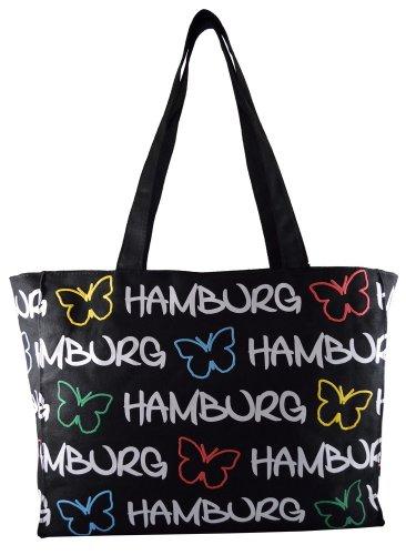Robin Ruth Canvas Schultertasche Hamburg Schmetterling in schwarz (Maße: LxHxT 36x28x11cm)
