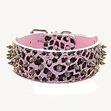 haoyueer Collar de piel sintética con tachuelas para perros medianos y grandes Pit Bull Mastín Bully Boxer (XL, leopardo rosa)