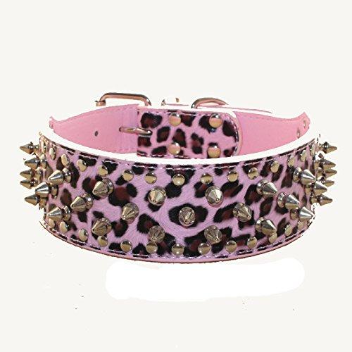 haoyueer Hundehalsband aus Kunstleder mit Nieten, für mittelgroße und große Hunde, Pit Bull Mastiff Bully Boxer (XL, Pink Leopard)