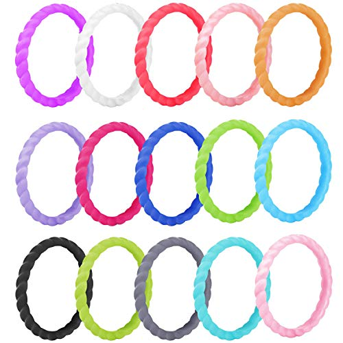 Yizerel Silicone Wedding Ring for Women, 15 Pack Thin Stackable Braided Rubber Wedding Bands,Comfortable Durable Fashionable Elegant Affordable Skin Safe & Friendly (Multicolored)