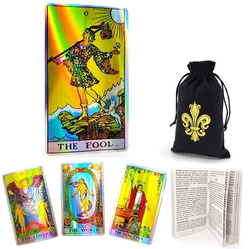 Cekell baraja holográfica de tarot Rider Waite clásica con guía electrónica en español, guía en papel en inglés y bolsa de terciopelo, herramienta de adivinación con efecto arcoíris