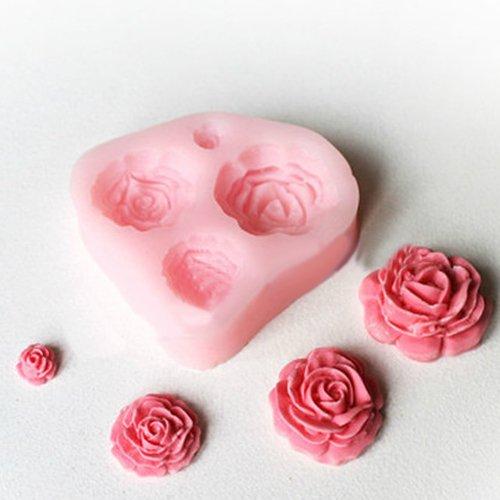 IRISMARU 4 Different Sizes Roses Fondant Cake Decorating Mold