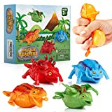 Yoya Toys Beadeez Dinosaur Squishy Stress Ball Toys (Set of 4) | Brilliant, Vibrant Gel Water Beads Ball Sensory Fidget Toys for Kids & Adults | Innovative Squishies are Great for Anxiety & Stress
