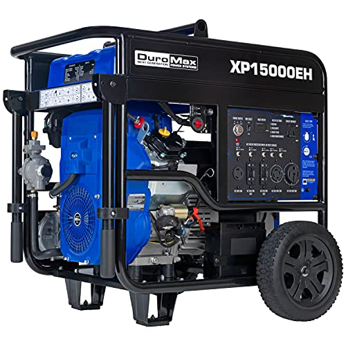 DuroMax XP15000EH Dual Fuel Portable Generator-15000 Watt Gas or Propane Powered Electric Start-Home...