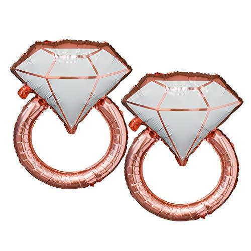 Tellpet Giant Diamond Ring Balloons, Bachelorette Engagement Wedding Party Decor, 2 pcs, Rose Gold