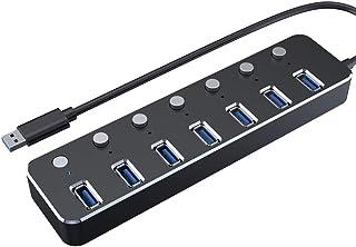 JUNPE Porta USB Multipla 3.0 USBHUB 3.0 Hub 5G BPS One for Seven Extender Drive-Free 7 Porte USB Hub Lega di Alluminio Amp...
