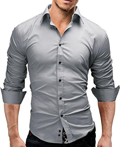 MERISH Hemd Slim Fit 14 Farben Größen S-XXL Herren Modell 01 Grau XXL