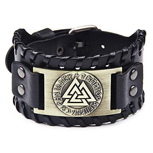 Schwarz Breite Lederarmband Herrenarmband Geflochten Echtlederarmband Armreif Wikinger Totem Odin Muster Retro Armband