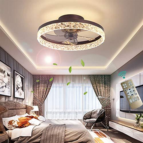 XSHBHD Deckenventilator Mit Beleuchtung, Fernbedienung,Einstellbar Windgeschwindigkeit LED Dimmbar 30W Decke Lampe Leise Ventilator Kronleuchter,Für Esszimmer Wohnzimmer Schlafzimmer (Farbe : Braun)