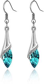 Voberry Fahion Women's Lady Crystal Marquise Cut Teardrop Wedding Hook Earrings Gift (Blue)