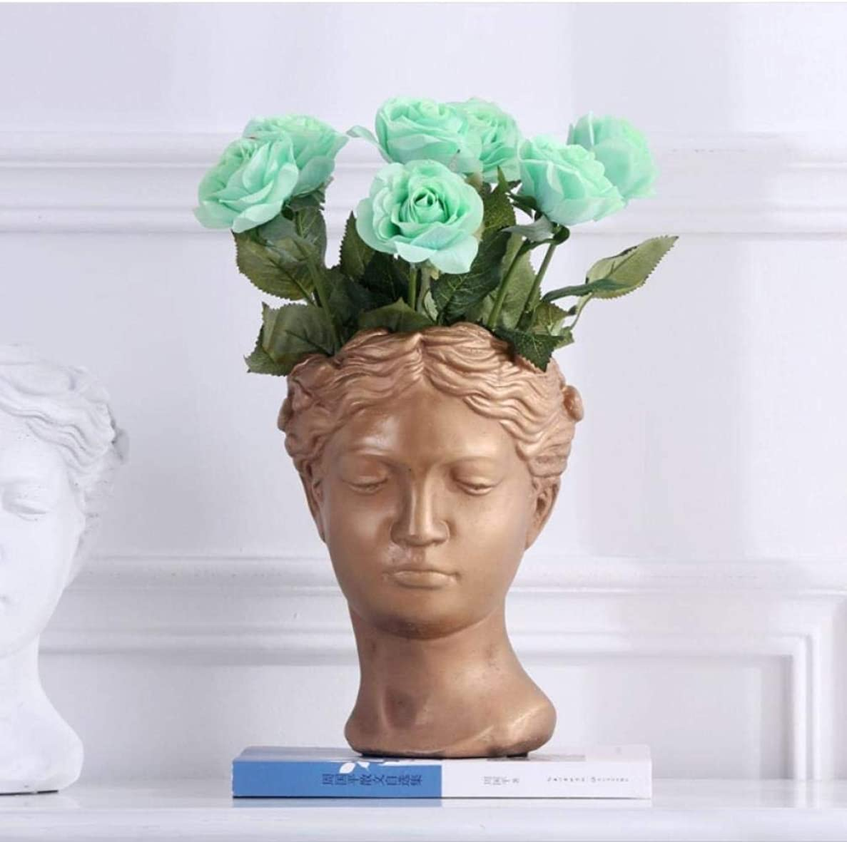船酔い病んでいる夏Otun 5ピース高シミュレーションバラ片手保湿バラ手持ち株バラ偽花家の装飾花、ライトブルー