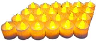 LED キャンドルライト, 電池付き ,7色点滅 ,24個セット , 電気 無煙蝋燭 LED イルミネーション,蝋燭ライト,室内電飾 パーディー 誕生日 結婚式 屋外 ,夕飯飾りクリスマス ,飾り (イエロー)