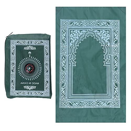 ABOOFAN festdekorationer 2pcs Islamic Muslim Rug Travel Prayer Mat med kompass och bärande bagagepåse