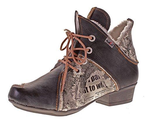 TMA Damen Winter Stiefeletten echt Leder Boots Leder Schuhe 8818F Knöchelschuhe Schwarz Grau Gr. 42