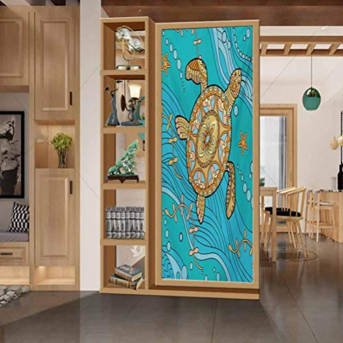 Opaque Sunscreen Window Sticker, Turtle Doodle of Sea Turtle on Water Surface Artistic Mariti, Bathroom Office Meeting Room Living Room Window Membrane, W17.7xH35.4 Inch