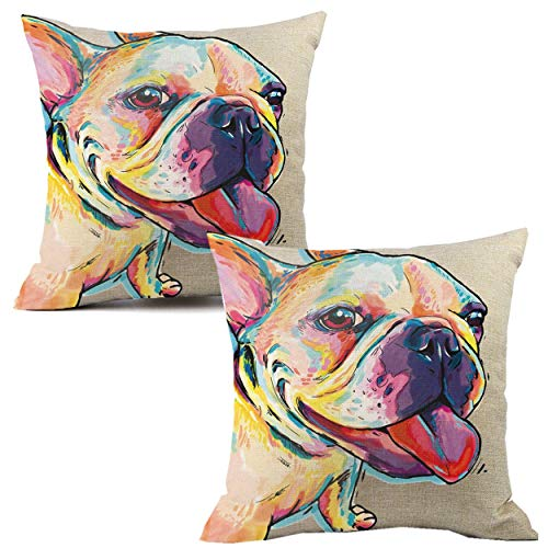 Unibedding Frenchie Dog Decorative Throw Pillow Covers, Cotton Linen Dog Pillow Case 18 X 18 Inch for Sofa Couch Home Decoration, 2 Pack