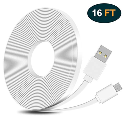 FastSnail 16.4FT Flat Power Extension Cable for WyzeCam,WyzeCam Pan,KasaCam Indoor,NestCam Indoor,Yi Camera, Blink, USB to Micro USB Flat Charging Cord for Security Cam