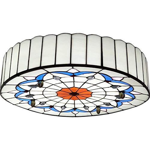 LLLKKK Lámpara de techo redonda Tiffany de cristal de colores, luz cálida, mediterránea, pastoral, LED, para salón o dormitorio (tamaño: 40 cm de diámetro)