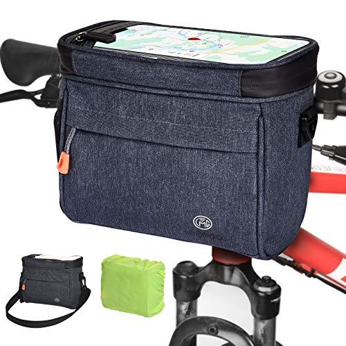 LEMEGO Bolsa para el Manillar de Bicicleta 4.2L Bolsa de Canasta de Bicicleta Impermeable con Pantalla táctil Bolsa de Malla Bolsa de Manillar de Bicicleta Soporte de Teléfono con Bandolera