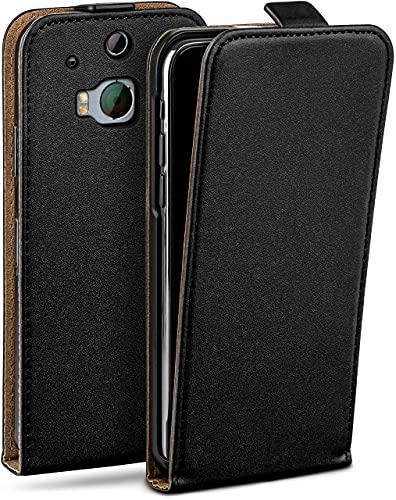 moex Flip Hülle für HTC One M8 / M8s - Hülle klappbar, 360 Grad Klapphülle aus Vegan Leder, Handytasche mit vertikaler Klappe, magnetisch - Schwarz