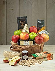 cheese and fruit basket with nuts