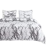 Wake In Cloud - Marble Quilt Set, Black White and Gray Grey Modern Pattern Printed, Soft Microfiber Bedspread Coverlet Bedding (3pcs, King Size)