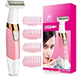 Women's Electric Shaver Bikini Trimmer Facial Hair Remover for Women Ladies Electric Razor for Face Armpit Arms Legs Bikini Area - Painless Rechargeable Wet & Dry Hair Removal with Combs (Pink)