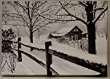 Oak Street Led Lighted Snow Covered Christmas Barn House and Fence in Winter Lighted Canvas Art Picture with 6 Hour Timer (17'x14')