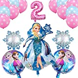 Jjwlkeji Esmalte de uñas en Gel 18pcs / Set 16 Pulgadas El número de los impulsos Elsa y Anna Princesa Tema del cumpleaños del Globo del Partido decoración de Las Bolas de la Boda Globos