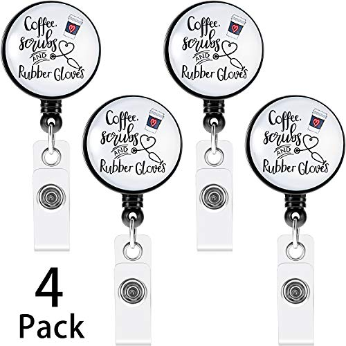 4 Pieces Coffee Scrubs and Rubber Gloves Badge Holder Nurse Retractable Badge Reel Decorative Name Badge Holder with Alligator Clip for Nurse Volunteer Teacher Gifts Office School Supplies