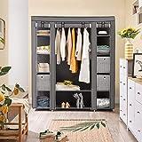 SONGMICS Kleiderschrank, Stoffschrank, mit Kleiderstange und Ablagen, Soffüberzug, für Schlafzimmer, Ankleidezimmer, 150 x 45 x 175 cm, grau LSF03G - 4