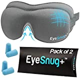 EyeSnugs 3D Contoured Memory Foam Sleep Masks – 2 Pack Eye Masks Allow Full REM Sleep – Blackout Molded Blindfold with Ear Plugs for Uninterrupted Sleep