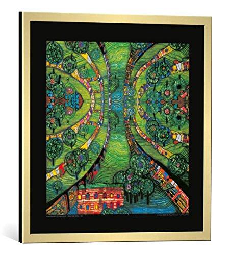kunst für alle Bild mit Bilder-Rahmen: Friedensreich Hundertwasser Grüne Stadt - Green Town - dekorativer Kunstdruck, hochwertig gerahmt, 48x48 cm, Gold gebürstet