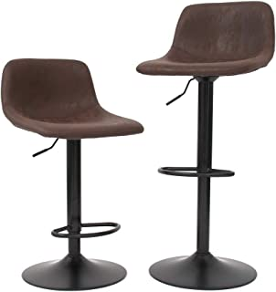 CangLong Bar Stools Swivel Barstool Chairs with Back, Modern Counter Height Adjustable for Pub Kitchen Dining Room, 2 pcs ...