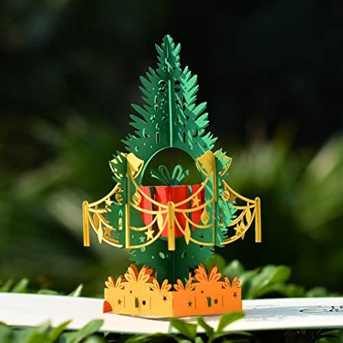 Tarjeta de felicitación 3D de Navidad con diseño de árbol de pino de Cutpopup, detalles perfectos, múltiples opciones de color, montada a mano, con soporte para tarjetas