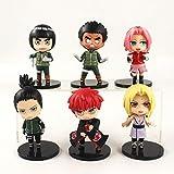 VNNY 6 unids/Set Figura de Naruto Tsunade Shikamaru Sakura Uchiha Akatsuki Sasori Might Guy Rock Lee...