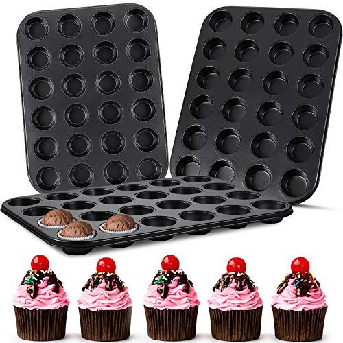 3 Pieces 24 Cups Mini Muffin Pans Carbon Steel Cupcake Tin Trays Kitchen Cupcake Pans Nonstick Baking Pans for Baking Brownie, Cake, Dessert