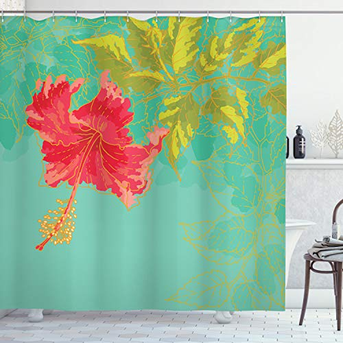 Ambesonne Watercolor Flower Shower Curtain, Colorful Drawing of Hubiscus Flower Pastel Tones Spring Rural Floral, Cloth Fabric Bathroom Decor Set with Hooks, 70' Long, Green Teal