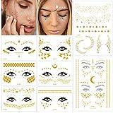 MUYOS Tätowierung Metallic Festival Temporäre Tattoo Gesicht Gold Flash Aufkleberr Face Sticker Tattoos für Frauen Mädchen Party Festival Shows (8 Stück)