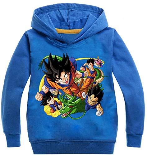 Silver Basic Sudadera con Capucha de Manga Larga para Niños Sudadera Japonesa Anime Dragon Ball Son Goku98, Azul B-5