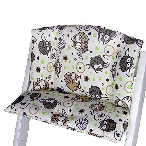 Babys-Dreams zitkussen pad zitkussenset voor stokken Tripp Trap hoge stoel (Beige Brown/Groen Dik Uilen$5)