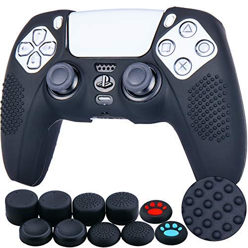 YoRHa Tachonado Silicona Caso Piel Fundas Protectores Cubierta para Sony PS5 Dualsense Mando x 1 (Negro) con Pro los puños Pulgar Thumb gripsx 8
