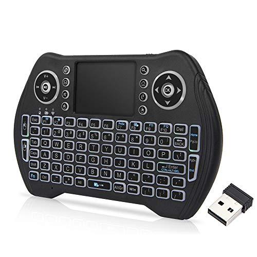 Docooler Retroiluminado 2.4 GHz Teclado Inalámbrico Touchpad Mouse Control Remoto de Mano 3 Colores Retroiluminación para Android TV Box Smart TV PC Portátil