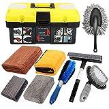 Mofeez 9pcs Car Cleaning Tools Kit Include Tire Brush, Wheel Brush, Wash Mitt Sponge, Big Microfiber Waffle Towels, Window Cleaner Squeegee, Dirt Duster