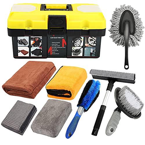 car tools Mofeez 9pcs Car Cleaning Tools Kit Include Tire Brush, Wheel Brush, Wash Mitt Sponge, Big Microfiber Waffle Towels, Window Cleaner Squeegee, Dirt Duster