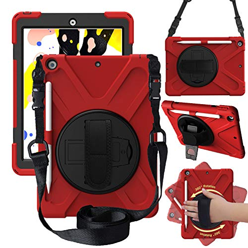 "CWNOTBHY iPad 10.2 Case, 2020 iPad 8th Generation Case/2019 iPad 7th Generation Case, Heavy Duty Shockproof Protective Case with Hand Strap for iPad 10.2"",Red"