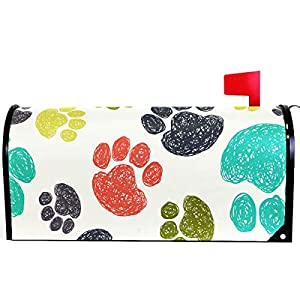 Colorful paw print mailbox cover